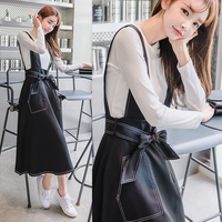 2017冬装新款女装韩版修身长袖高腰显瘦两件套背带裙