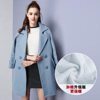【特价款不退不换】2017新品翻领加厚双排扣女式毛呢大衣